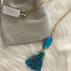 Kendra Scott Aqua Eva Gold Pendant Necklace